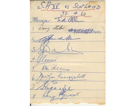 SCOTLAND TOUR TO SOUTH AFRICA 1960 RUGBY AUTOGRAPHS