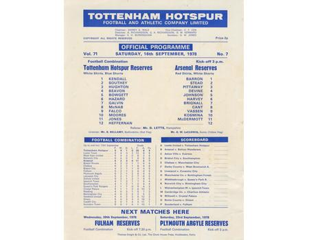 TOTTENHAM HOTSPUR V ARSENAL 1978 FOOTBALL PROGRAMME - FOOTBALL COMBINATION