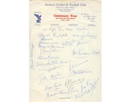 FIJI RUGBY TEAM 1973 (VISIT TO SWANSEA) - SIGNED TEAM SHEET