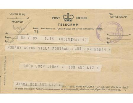 TELEGRAM FOR JIMMY MURPHY (MANCHESTER UNITED) 1958 - BEFORE FA CUP SEMI-FINAL
