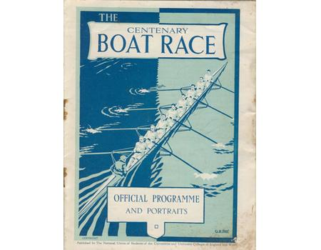 OXFORD V CAMBRIDGE UNIVERSITY CENTENARY BOAT RACE 1929 PROGRAMME