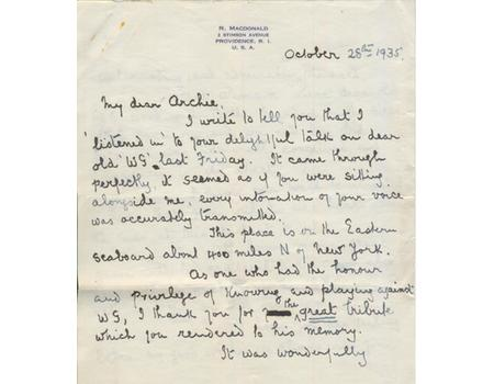 DR ROBERT MACDONALD (LEICESTERSHIRE AND QUEENSLAND) 1935 LETTER TO ARCHIE MACLAREN - DISCUSSING WG GRACE