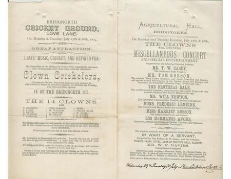BRIDGNORTH CRICKET CLUB V CLOWN CRICKETERS 1874 CRICKET PROGRAMME