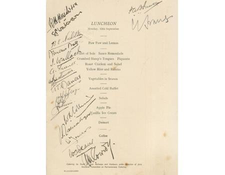 BRITISH LIONS 1938 TOUR OF SOUTH AFRICA SIGNED LUNCH MENU (HOUSES OF PARLIAMENT, CAPE TOWN)