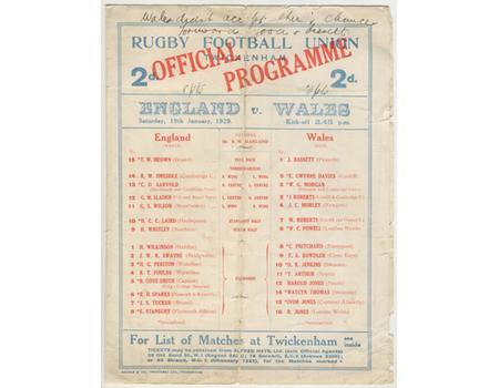 ENGLAND V WALES 1929 RUGBY PROGRAMME