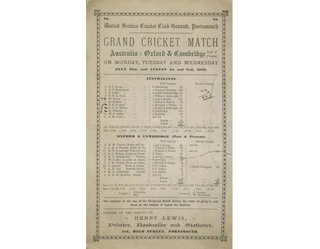 OXFORD AND CAMBRIDGE V AUSTRALIA 1893 (PORTSMOUTH) CRICKET SCORECARD