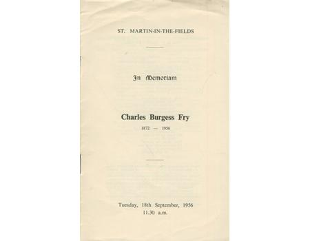 SERVICE OF THANKSGIVING FOR CHARLES BURGESS FRY 1956