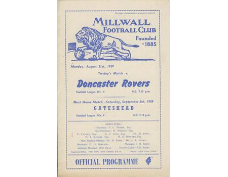MILLWALL V DONCASTER ROVERS 1959-60 FOOTBALL PROGRAMME