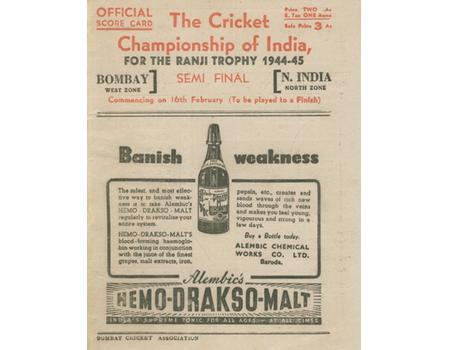 NORTHERN INDIA V BOMBAY 1944-45 (RANJI TROPHY SEMI-FINAL) CRICKET SCORECARD