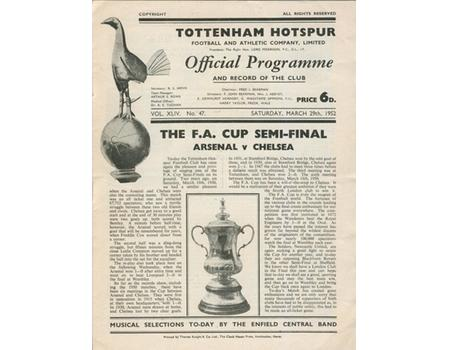 ARSENAL V CHELSEA 1952 (FA CUP SEMI-FINAL) FOOTBALL PROGRAMME