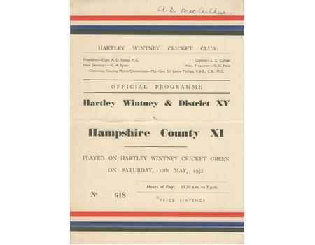 HARTLEY WINTNEY & DISTRICT V HAMPSHIRE COUNTY XI 1952 CRICKET SCORECARD