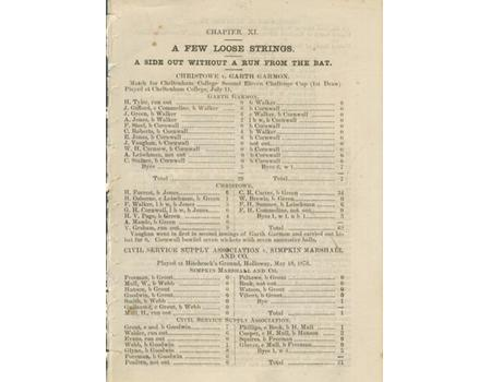 TWO INNINGS WITHOUT ANY RUNS FROM THE BAT 1878 CRICKET SCORESHEET