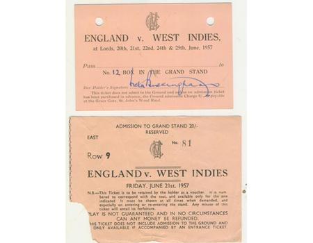 ENGLAND V WEST INDIES 1957 (LORD