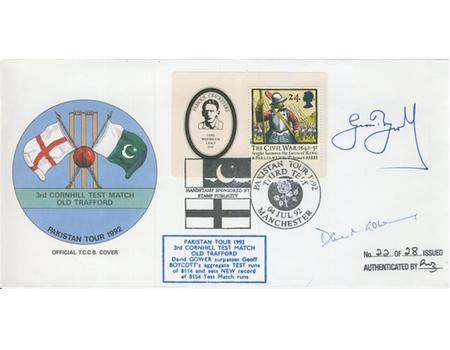 ENGLAND (V PAKISTAN) 1992 SIGNED FIRST DAY COVER - GOWER PASSES BOYCOTT