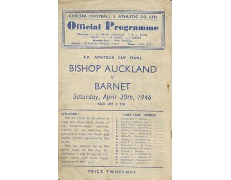 BISHOP AUCKLAND V BARNET 1946 (F.A. AMATEUR CUP FINAL) FOOTBALL PROGRAMME