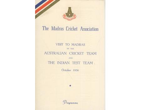 AUSTRALIA AND INDIA CRICKET VISIT TO MADRAS 1956 - PROGRAMME OF EVENTS