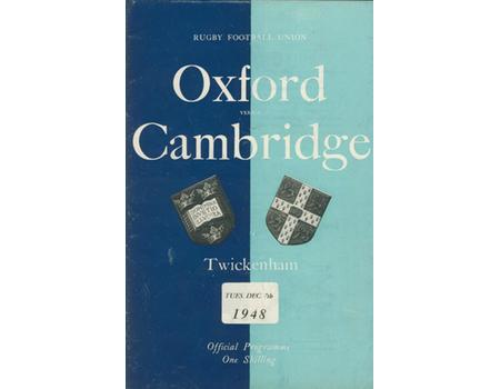 OXFORD V CAMBRIDGE 1948 RUGBY PROGRAMME