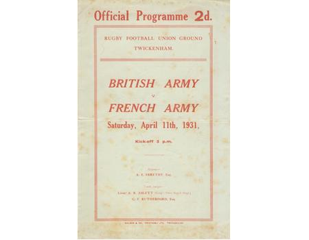 BRITISH ARMY V FRENCH ARMY 1931 RUGBY PROGRAMME