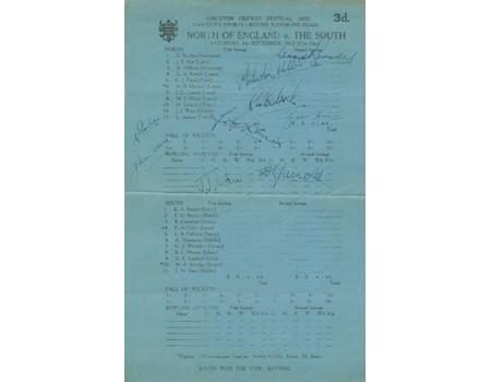 NORTH V SOUTH 1952 CRICKET SCORECARD - SIGNED BY 9 PLAYERS