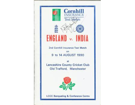 ENGLAND V INDIA 1990 (OLD TRAFFORD) LUNCH MENU - SIGNED BY AZHARUDDIN