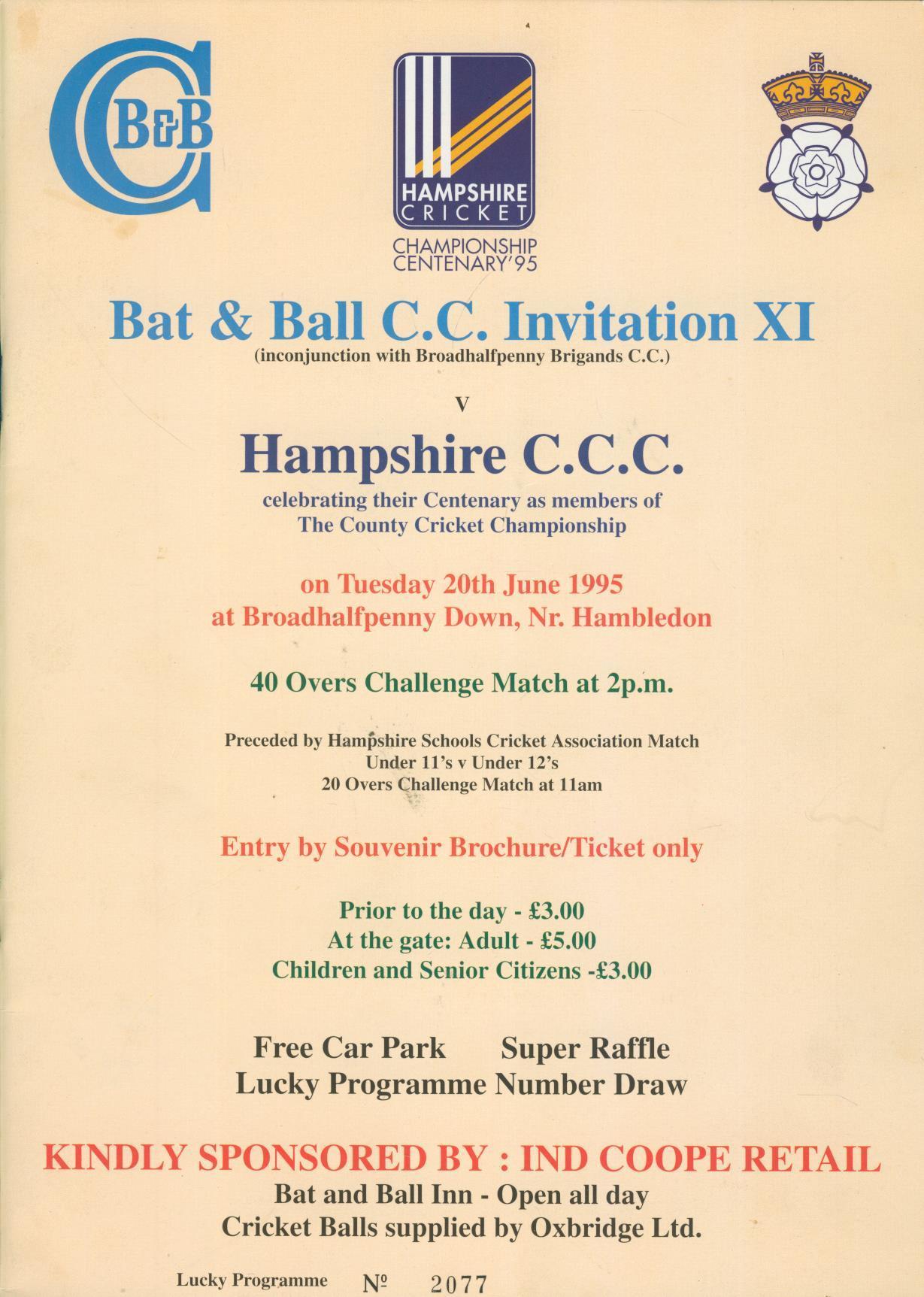 Bat and ball cc invitation xi v hampshire ccc 1995 bat and ball cc invitation xi v hampshire ccc 1995 broadhalfpenny down cricket programme stopboris Choice Image