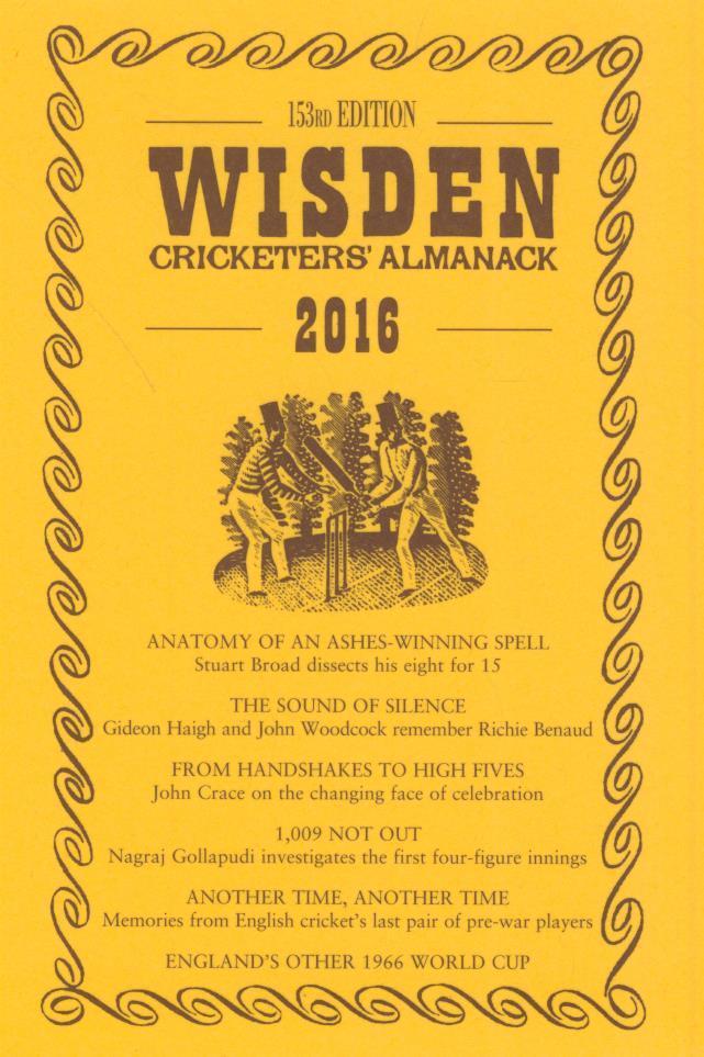 WISDEN TRADITIONAL-STYLE DUST JACKET 2016 - Wisden Dust Jackets ...