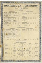 MCC v Australians 1878 Cricket Silk Scorecard, cricket scorecards