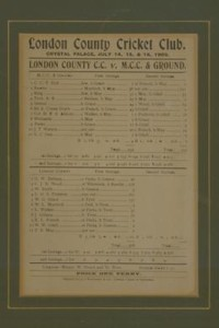 LONDON COUNTY CC V MCC & GROUND 1902 (SIR ARTHUR CONAN DOYLE'S HIGHEST FIRST-CLASS SCORE), cricket scorecards