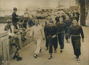 1957 Chelsea football players training on the Chelsea embankment