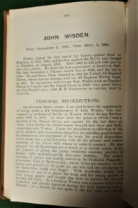John Wisden's Tribute in the 1913 Wisden Cricketers' Almanack, sportspages
