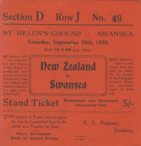 all blacks, swansea, st helens, rugby memorabilia, rugby ticket, 1935