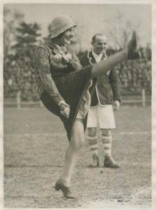 1920s football photograph, gaby morlay, french actress, football memorabilia