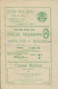 IRELAND V WALES 1950 SIGNED RUGBY PROGRAMME (WALES GRAND SLAM)